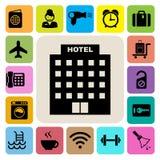 Hotel i podróży ikony set ilustracja wektor