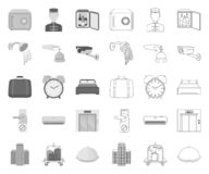 Hotel i wyposażenie mono, kontur ikony w ustalonej kolekcji dla projekta Hotel i wygoda symbolu zapasu wektorowa sie? ilustracji