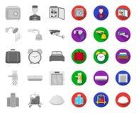 Hotel i wyposażenie mono, płaskie ikony w ustalonej kolekcji dla projekta Hotel i wygoda wektorowy symbol zaopatrujemy sieci ilus royalty ilustracja