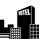 Hotel icon. Large hotel in the modern city Royalty Free Stock Photo