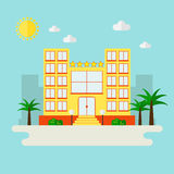 Hotel icon on city landscape. Hotel. Hotel icon on city landscape. Palm beach hotel. Summer vacation landscape. Five stars hotel. Modern hotel building. Flat royalty free illustration