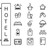 Hotel icon flat linear style vector set Royalty Free Stock Image
