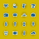 Hotel icon set isolated on yellow Stock Image