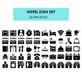 Hotel icon set in pixel perfect. Solid or Glyph style stock illustration
