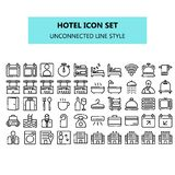 Hotel icon set in pixel perfect. unconnected line icons style vector illustration