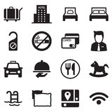 Hotel icon set. Silhouette Vector illustration Graphic Design vector illustration