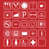 Hotel icon set - vector. Illustration of a set of white squared icons on red background for hotel.EPS file available stock illustration