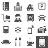 Hotel icon set. Vector icons for hotel booking and reservations app. Simplus series royalty free illustration