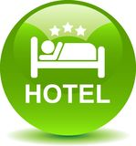 Hotel icon web button. Vector illustration isolated on white background stock illustration