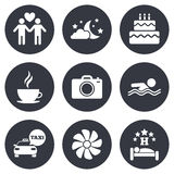 Hotel, iconos del servicio del apartamento Agua y paraguas Imagenes de archivo