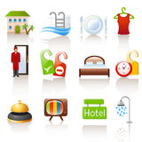 Hotel icons. Set of 12 glossy hotel icons royalty free illustration