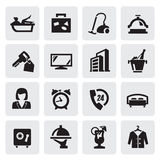 Hotel icons. Vector black hotel icons set on gray Stock Photos