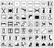 Hotel icons. Many different hotel icons in black Stock Photos