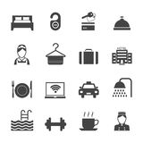 Hotel Icons Black. Hotel business accommodation elements black icons isolated vector illustration Stock Photography