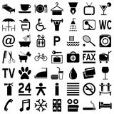 Hotel Icons - Black on White. Collection of 49 black hotel icons (or symbols) isolated on white background. Eps file available royalty free illustration