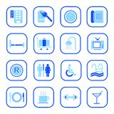 Hotel icons - Blue Series. Set of computer and print icons related to the accomodation business, blue series.  Easy to edit, modify size of elements, etc Stock Image