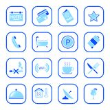 Hotel icons - Blue Series. Set of icons related to the accomodation business. Easy to edit, modify size of each element, etc Stock Photography