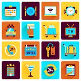 Hotel icons flat set Royalty Free Stock Photography