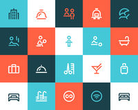 Hotel icons. Flat style vector illustration