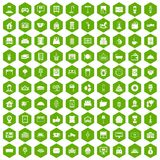 100 hotel icons hexagon green Royalty Free Stock Photos