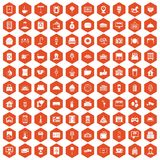 100 hotel icons hexagon orange. 100 hotel icons set in orange hexagon isolated vector illustration Royalty Free Illustration