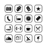 Hotel icons II - B&W series. Set of icons related to the accomodation business Royalty Free Stock Photo