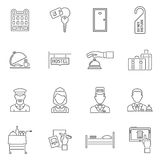 Hotel Icons Line Set. With tourism staff isolated vector illustration Stock Photo