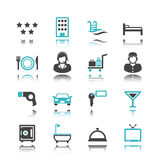 Hotel icons with reflection Royalty Free Stock Image