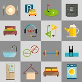 Hotel icons set. Hotel amenities and room service icons of golf spa massage and bell isolated vector illustration Stock Photo