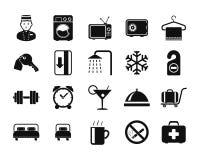 Hotel icons set. Black and White Royalty Free Stock Image