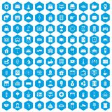100 hotel icons set blue. 100 hotel icons set in blue hexagon isolated vector illustration vector illustration