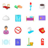 Hotel icons set in cartoon style Royalty Free Stock Photography