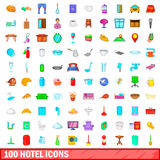 100 hotel icons set, cartoon style Royalty Free Stock Photo