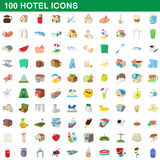 100 hotel icons set, cartoon style. 100 hotel icons set in cartoon style for any design vector illustration Royalty Free Stock Images