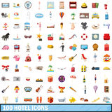 100 hotel icons set, cartoon style Stock Photo