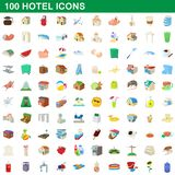 100 hotel icons set, cartoon style. 100 hotel icons set in cartoon style for any design illustration stock illustration
