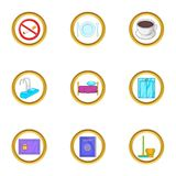 Hotel icons set, cartoon style Royalty Free Stock Images