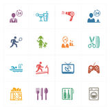 Hotel Icons Set 2 - Colored Series. This set contains 16 hotel icons that can be used for designing and developing websites, as well as printed materials and Royalty Free Stock Photo