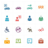 Hotel Icons Set 1 - Colored Series. This set contains 16 hotel icons that can be used for designing and developing websites, as well as printed materials and vector illustration