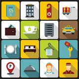 Hotel icons set in flat style Stock Image