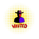 Vintage wanted poster icon, comics style  Royalty Free Stock Photo