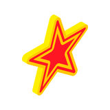 Gold star with red insert icon, isometric 3d style Royalty Free Stock Image