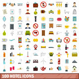 100 hotel icons set, flat style. 100 hotel icons set in flat style for any design vector illustration Royalty Free Stock Photography