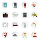 Hotel icons set, flat style. Hotel icons set. Flat illustration of 16 hotel vector icons set illustration stock illustration