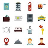 Hotel icons set, flat style. Hotel icons set. Flat illustration of 16 hotel vector icons for web Vector Illustration