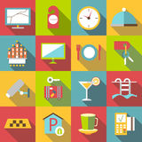 Hotel icons set, flat style. Hotel icons set. Flat illustration of 16 hotel vector icons for web stock illustration