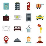 Hotel icons set, flat style. Hotel icons set. Flat illustration of 16 hotel icons for web Royalty Free Illustration