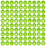 100 hotel icons set green. 100 hotel icons set in green circle isolated on white vectr illustration Royalty Free Illustration