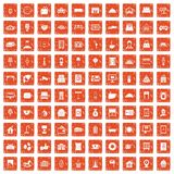 100 hotel icons set grunge orange. 100 hotel icons set in grunge style orange color isolated on white background vector illustration Stock Images