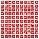 100 hotel icons set grunge red Stock Image